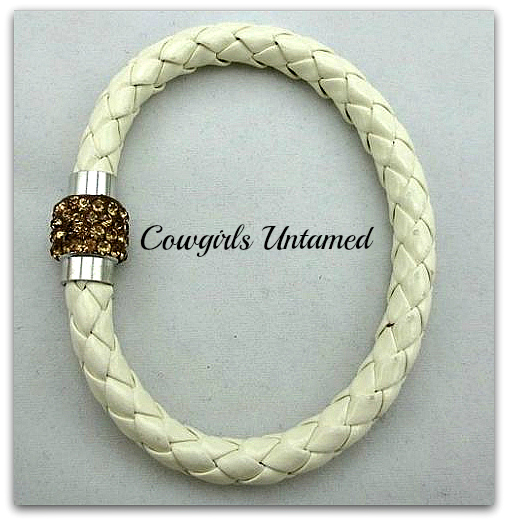 COWGIRL STYLE BRACELET White Gold Rhinestone Magnetic Closure Silver Leather Western Bracelet