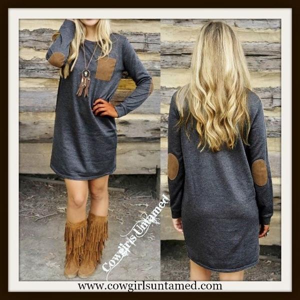 COWGIRL STYLE DRESS Brown Patch Elbows & Pocket on Grey Long Sleeve Mini Dress / Tunic Top
