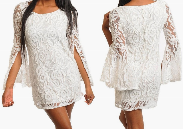 COWGIRL GYPSY DRESS Ivory Lace Ruffle Slit Sleeve Western Tunic Top Mini Dress