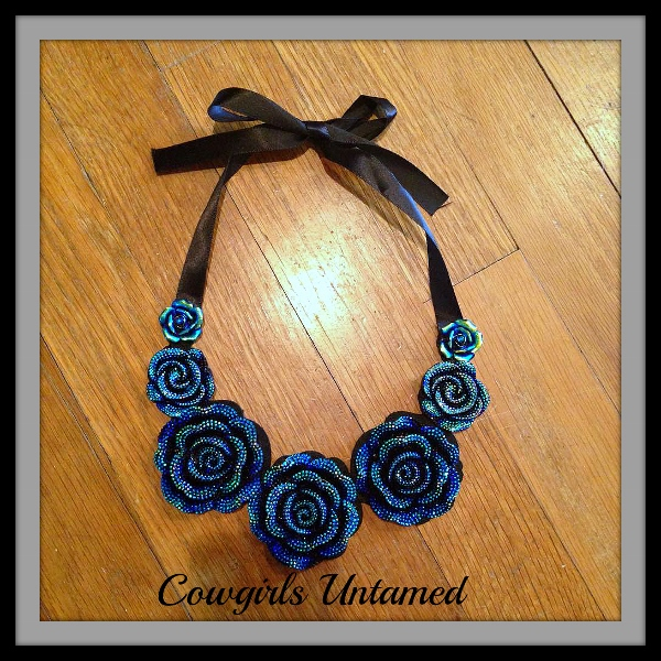 COWGIRL GLAM NECKLACE Blue Rose Black Ribbon Choker Bib Necklace