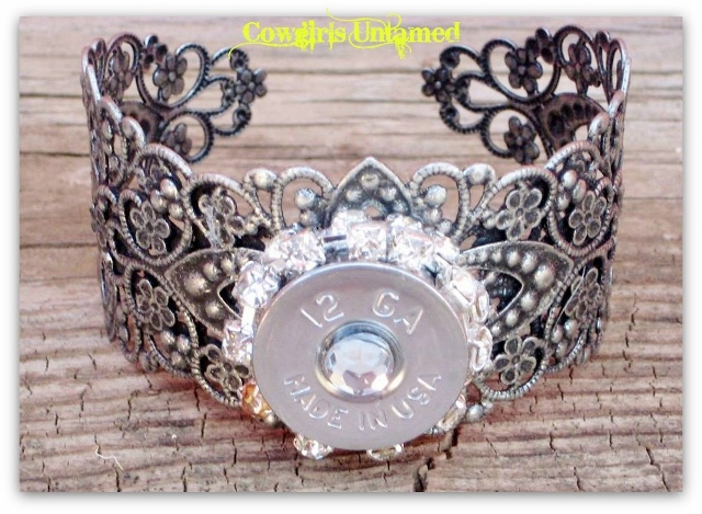 COWGIRL OUTLAW CUFF 12 Gauge Crystal Shotgun Case with Double Rhinestone trim on Antique Silver Wide Western Cuff Bracelet