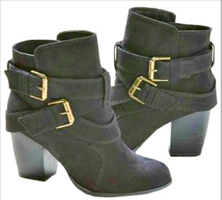 BOHO CHIC BOOTS Buckle & Belted Block High Heel Booties