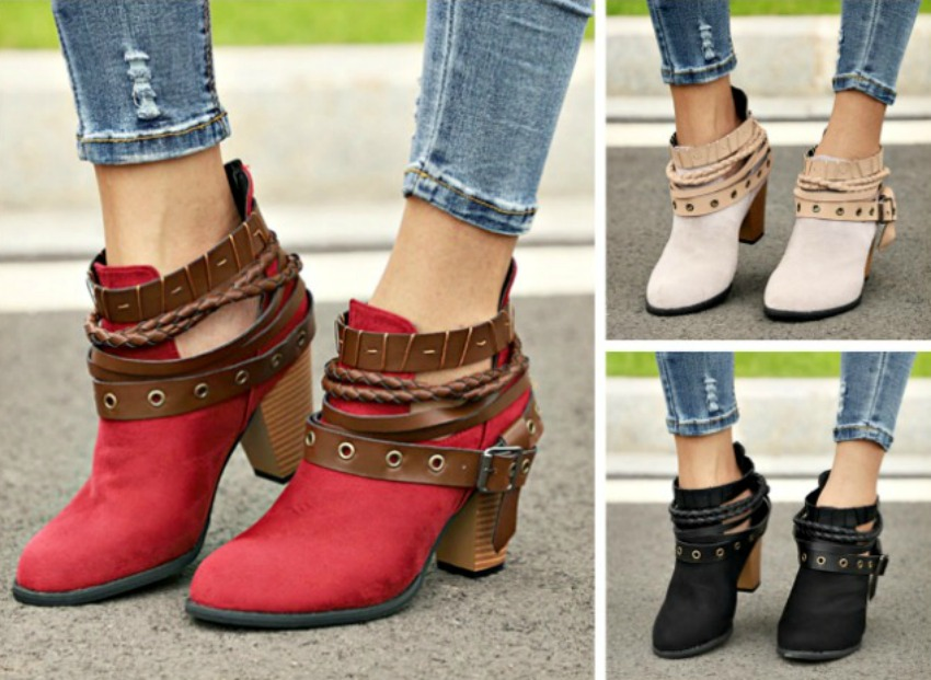 BUCKLE UP BOOTS Multi Belted Faux Suede Ankle Boots