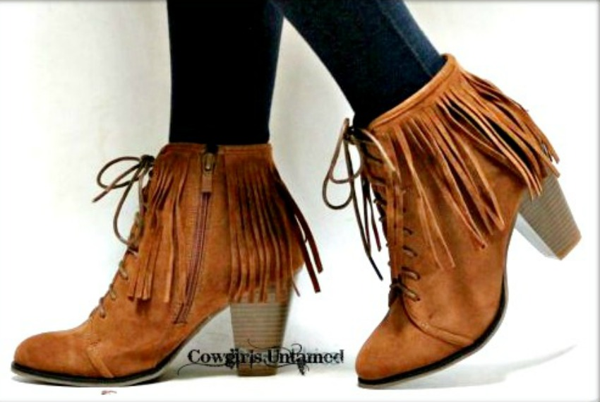 BOHO CHIC BOOTIES Brown Faux Suede Lace Up Front Fringe Heel Booties LAST ONE SIZE 9