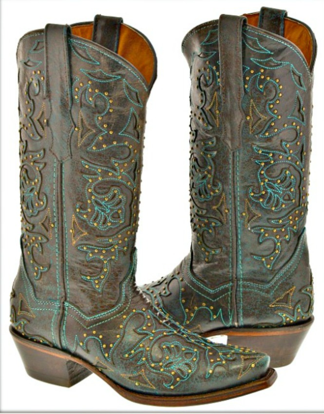 COWGIRL STYLE BOOTS Turquoise Embroidery Studded Brown Genuine Leather Boots Sizes 6,7,8,9