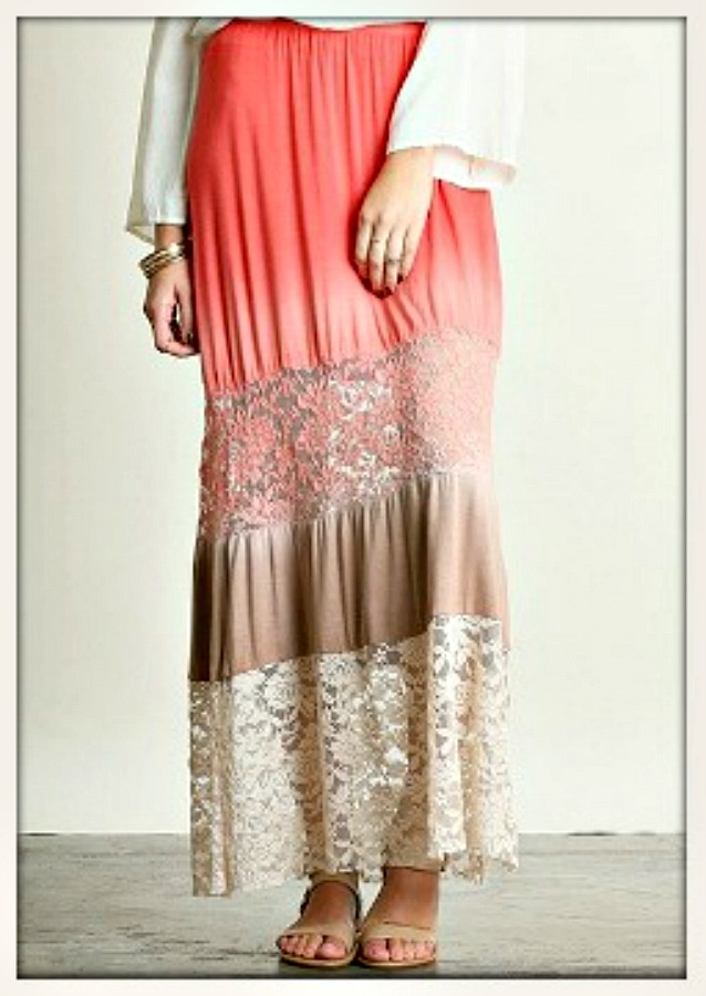 COWGIRL GYPSY SKIRT Coral to Cream Ombre Lace Designer Boho Maxi Skirt
