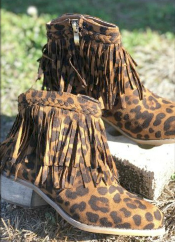 ON THE PROWL BOOTS Black and Brown Leopard Print Layered Fringe Ankle Boots