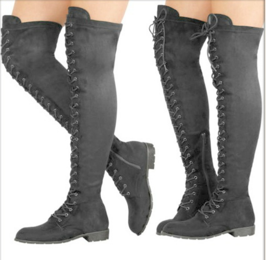 COWGIRL GYPSY BOOTS Black Lace Up Over the Knee Side Zip Boots