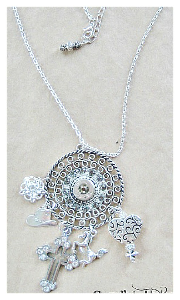 RODEO REBEL NECKLACE Filigree with Bullet and 6 Charms on Silver Chain Necklace