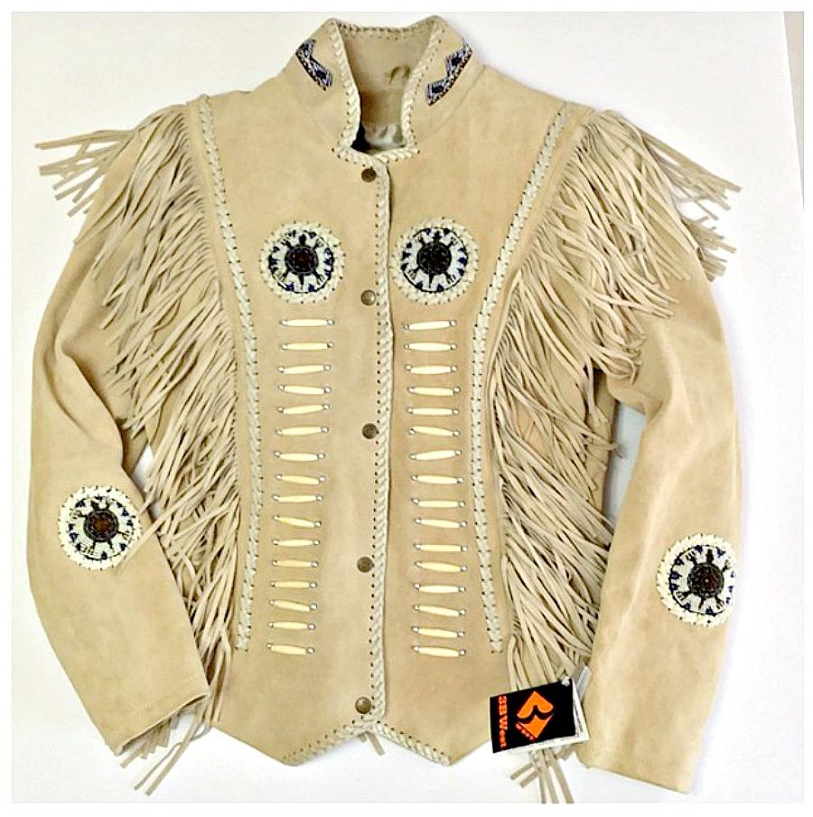 COWGIRL GYPSY JACKET Beige GENUINE Suede Leather Fringe & Indian Beaded Western Jacket Coat