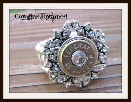 COWGIRL OUTLAW RING 45 Auto Bullet with Swarovski Crystal Stretch Ring