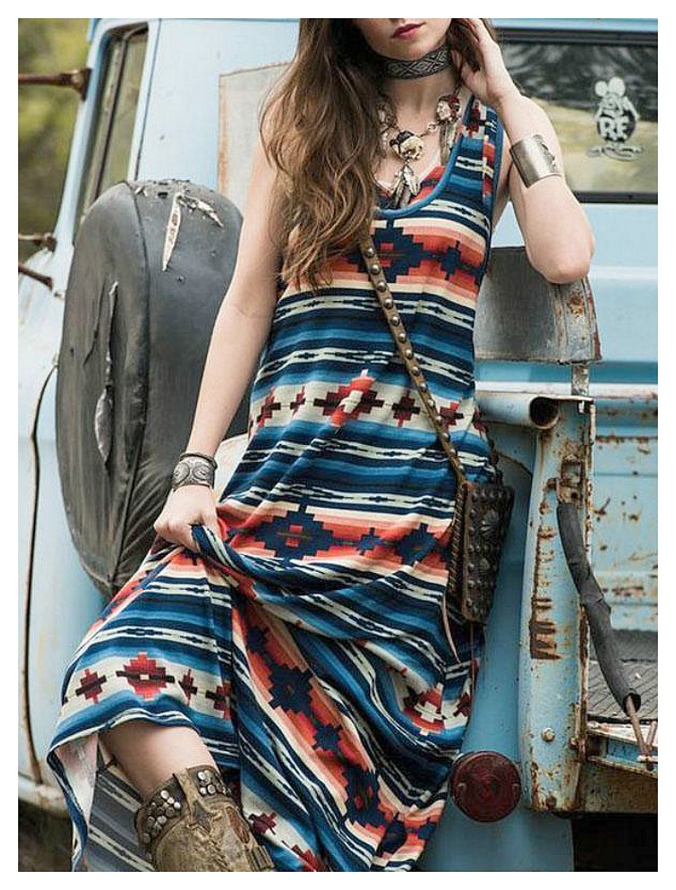 DESERT SKIES DRESS Blue Turquoise Orange White Aztec Sleeveless Tank Shift Boho Maxi Dress