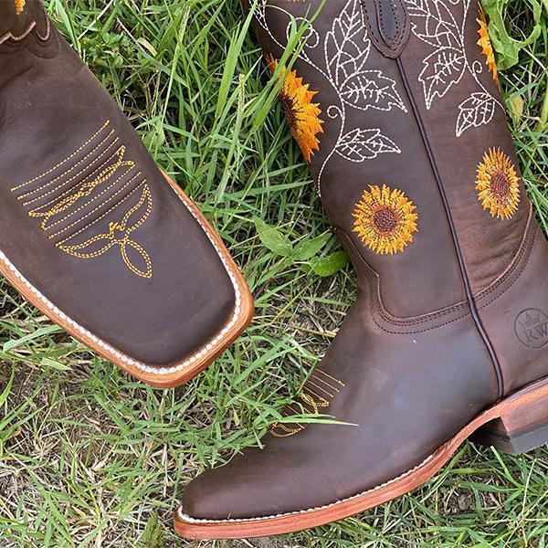SUNFLOWER BOOTS Yellow Embroidered Sunflowers on Dark Chocolate Brown Leather Square Toe  Womens Cowgirl Boots 6-10