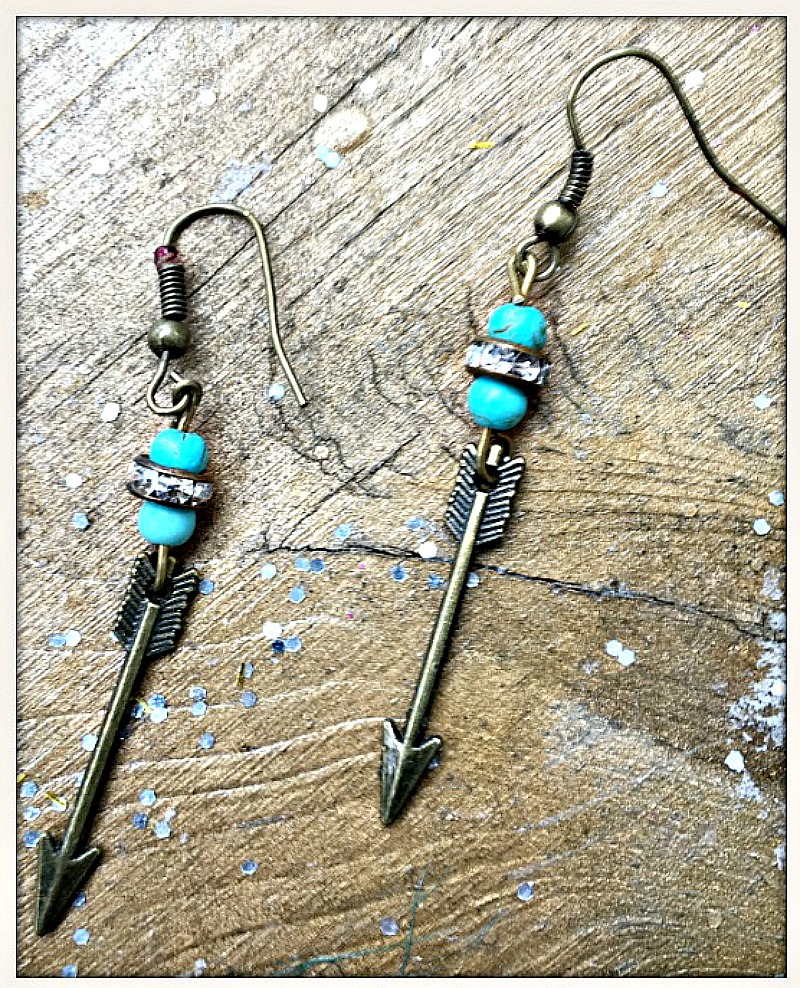 COWGIRL GYPSY EARRINGS Antique Bronze Arrow Turquoise & Rhinestone Dangle Earrings
