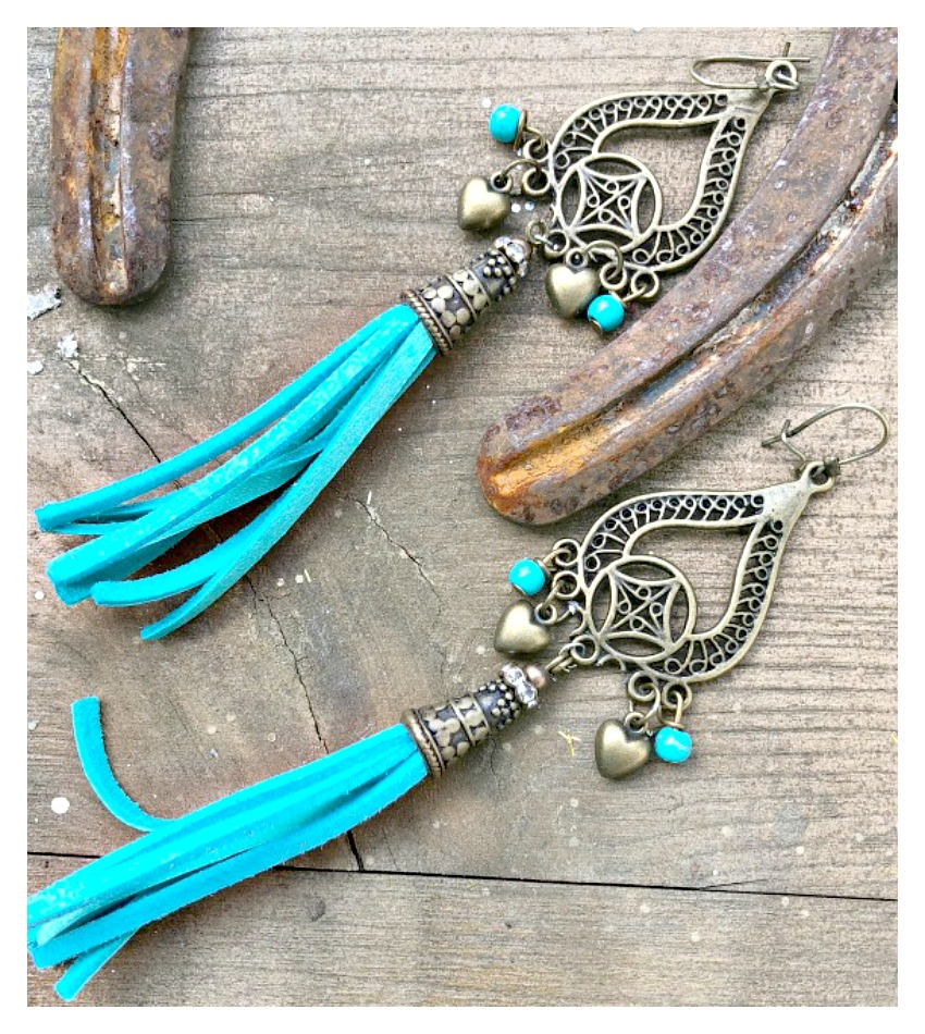 BOHEMIAN COWGIRL EARRINGS Antique Bronze Turquoise & Heart Charm & Tassel Earrings