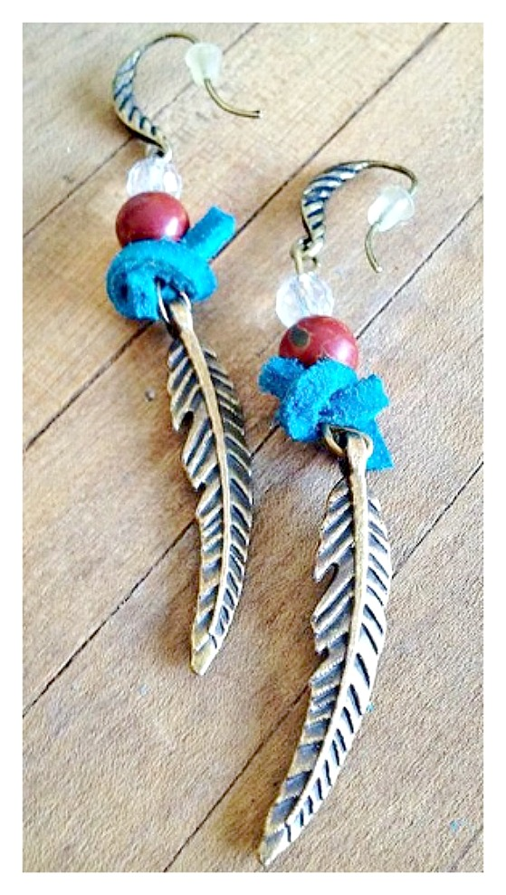 VINTAGE BOHEMIAN EARRINGS Antique Bronze Feather with Turquoise leather Knot N' Gemstone Earrings