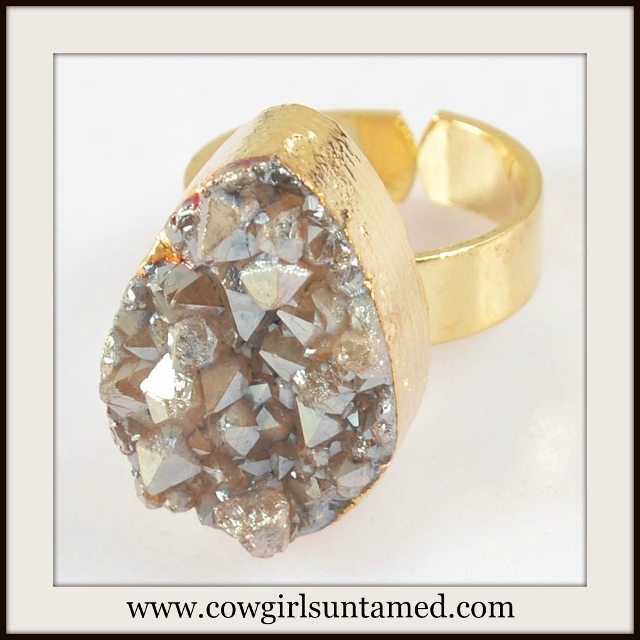 BOHEMIAN COWGIRL RING Natural Titanium Agate Druzy Gold Plated Ring