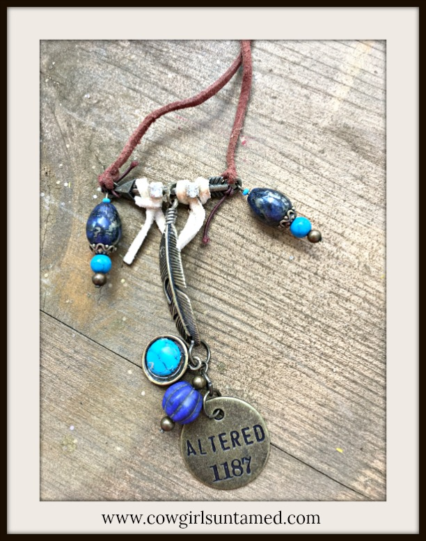 "BOHEMIAN COWGIRL NECKLACE Antique Bronze""Altered 1187""  & Blue Charm Feather Pendant Leather Necklace"