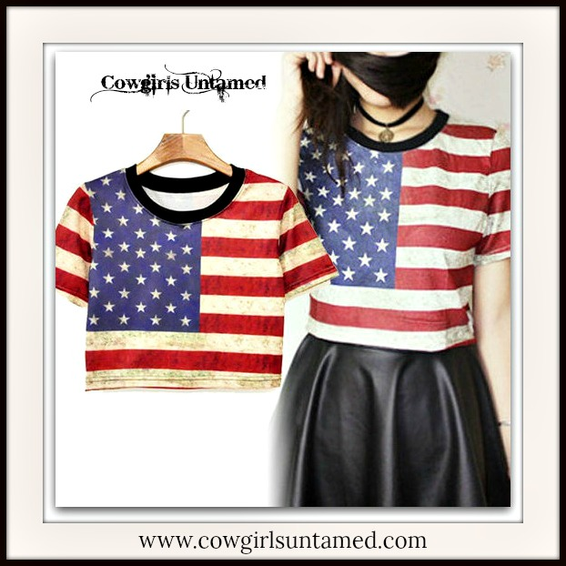 AMERICAN COWGIRL TOP Stars N' Stripes Cropped Short Sleeve Top