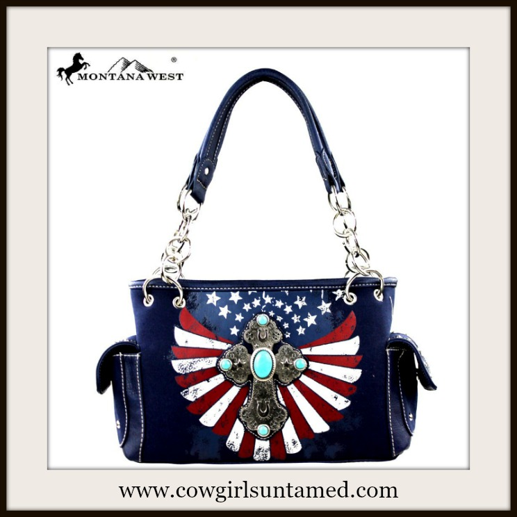AMERICAN PRIDE HANDBAG Antique Silver Cross Turquoise Stones on Red White and Navy Leather Handbag