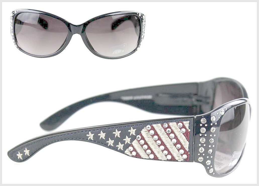 AMERICAN COWGIRL SUNGLASSES Montana West Crystal USA Flag Stars N Stripes Navy Blue Red White Western Sunglasses
