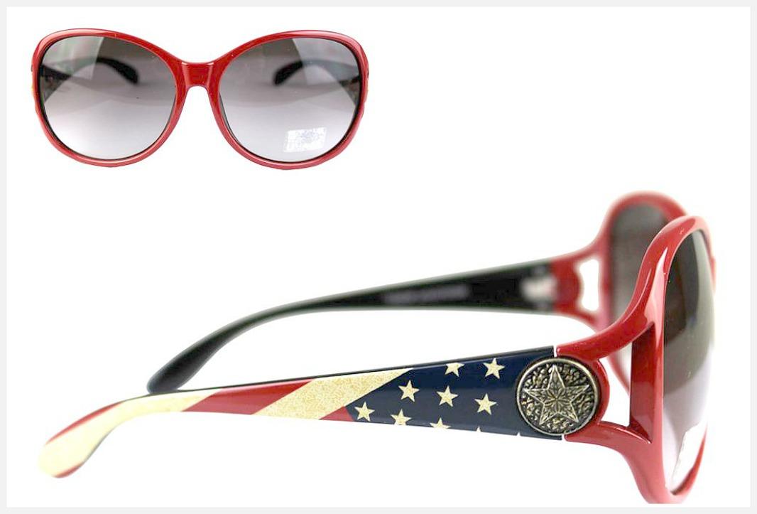 AMERICAN COWGIRL SUNGLASSES Montana West USA Flag Stars N Stripes Red Western Sunglasses