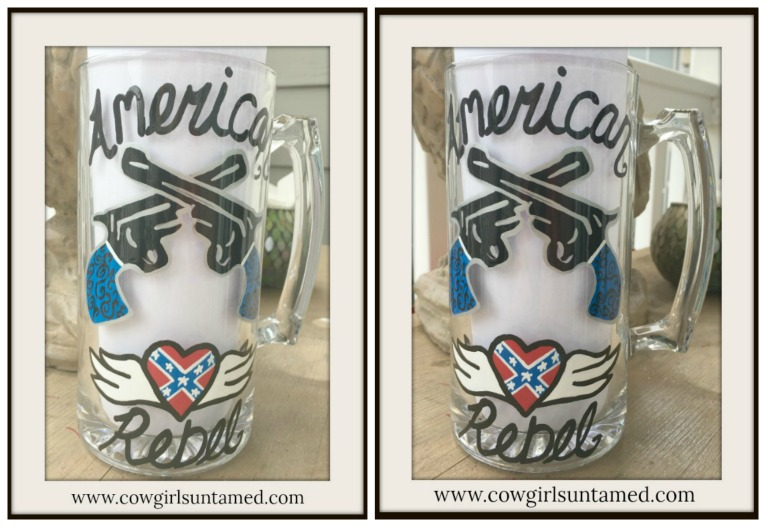 "SASSY COWGIRL DECOR Painted ""American Rebel"" Black Blue and Red with Double Pistols and Winged Heart Western Glass Mug"