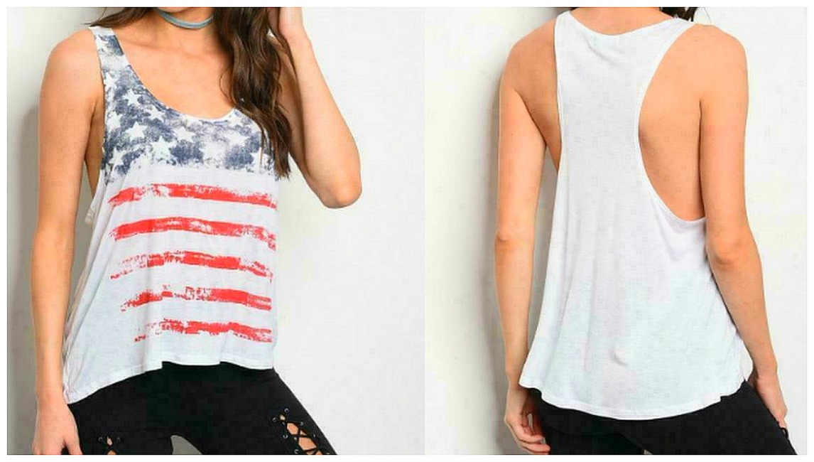 AMERICAN COWGIRL TOP Red Stripes Blue Stars White USA Flag Racerback High Low Scoop Neck Tank Top S/M or L/XL