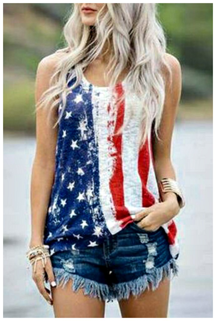 AMERICAN COWGIRL TOP Red White Blue Stars N Stripes USA Flag Tank Top S-2X