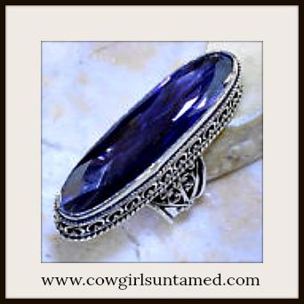 BOHO CHIC RING Amethyst Gemstone Sterling Silver Long Cocktail Ring