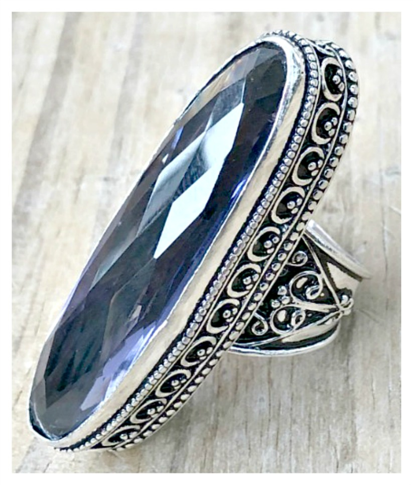 BOHO CHIC RING Amethyst Gemstone Sterling Silver Long Cocktail Ring