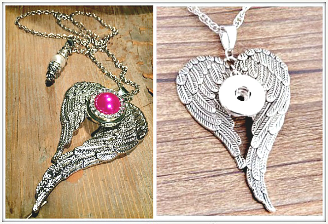 COWGIRL ATTITUDE NECKLACE Silver Angel Wings with Hot Pink Pearl Snap Charm Necklace