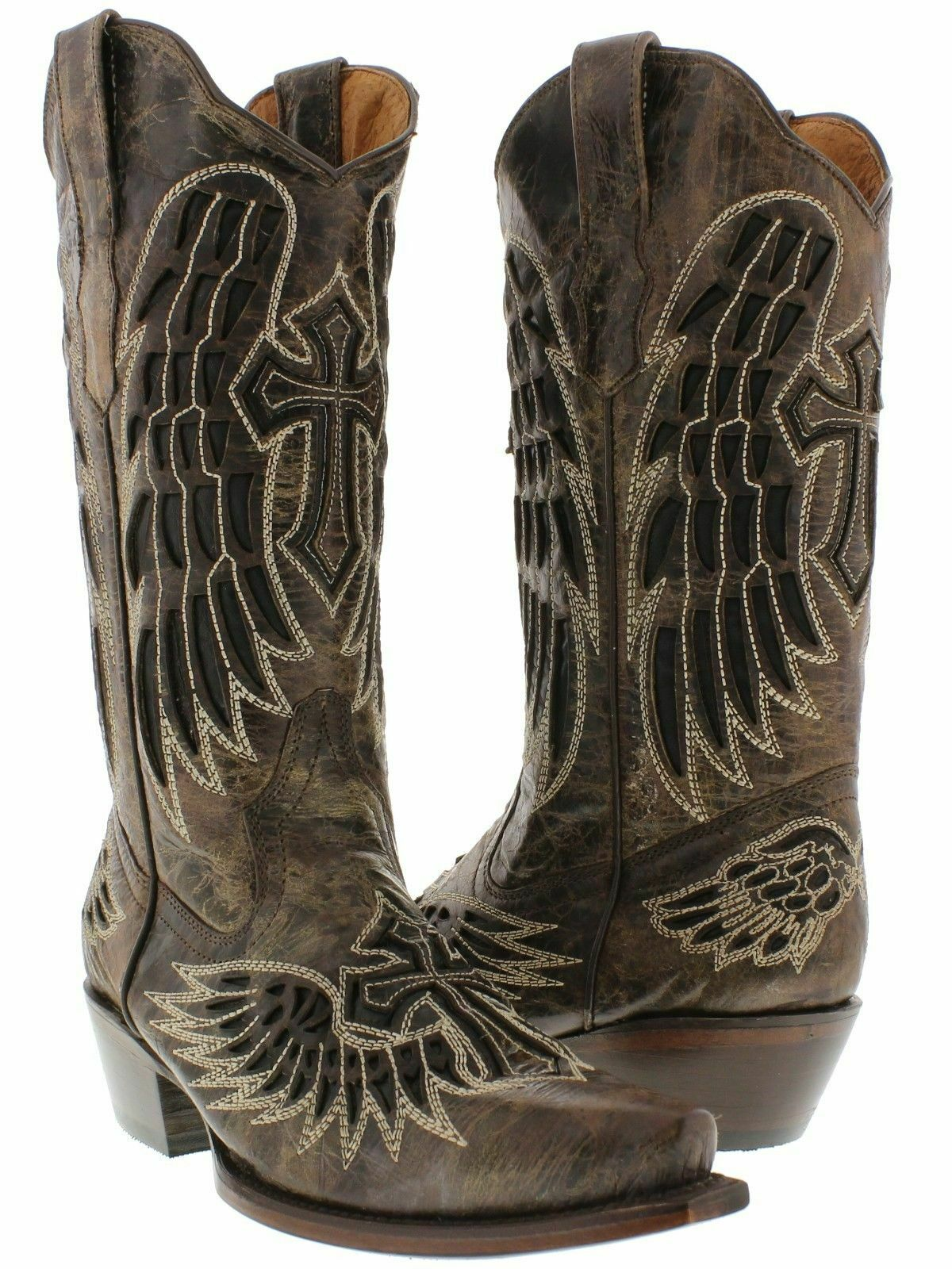 RODEO REBEL BOOTS Brown GENUINE LEATHER Allover Embroidered Cross Angel Wings Cowgirl Boots SIZES 6.5-11