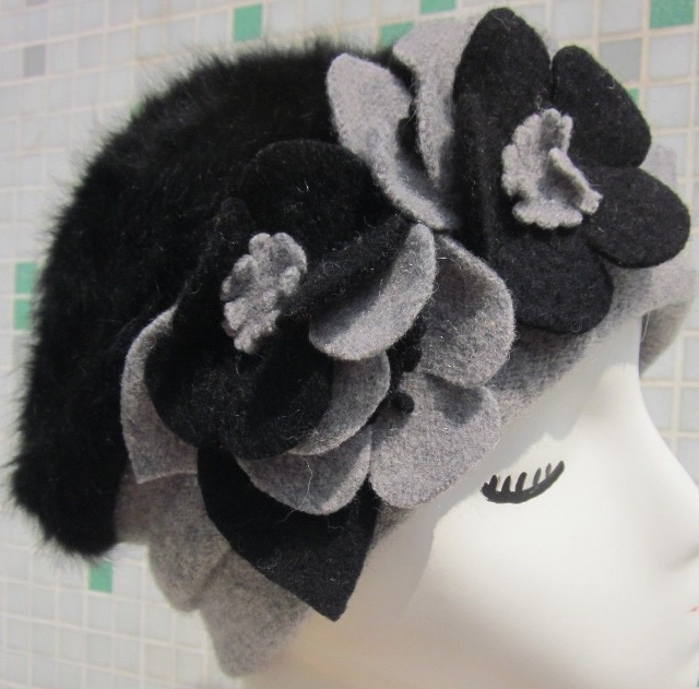 COWGIRL GYPSY HAT Flower Accented Two-tone Angora Fur and Wool Winter Hat