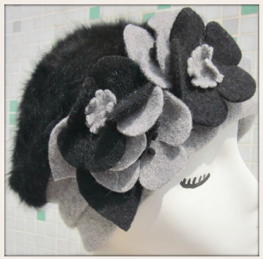 COWGIRL GYPSY HAT Flower Accented Two-tone Angora Fur and Wool Winter Hat LAST ONE