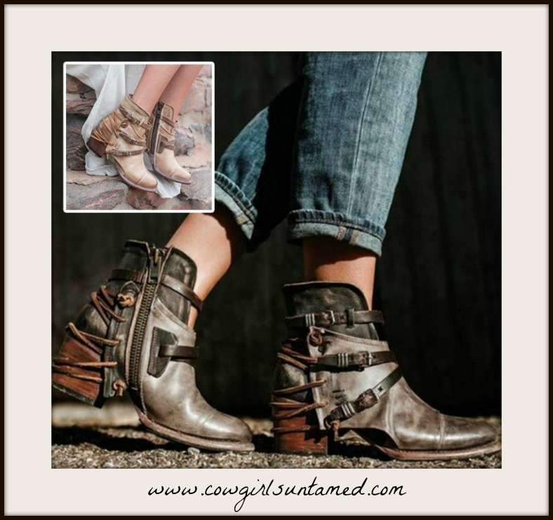 VINTAGE COWGIRL BOOTS Belted Vintage Style Faux Leather Boho Booties
