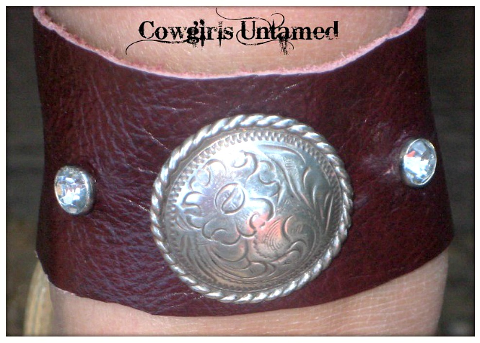 BOHO COWGIRL CUFF Silver Concho Brown GENUINE Leather Cuff Bracelet / Anklet