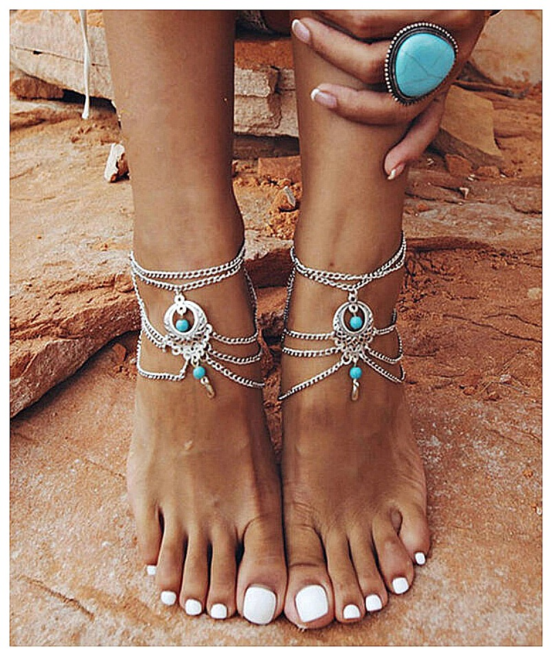 WILDFLOWER ANKLET TOE RING SET Turquoise & Silver Chain Boho Anklet and Toe Ring Barefoot Sandal Set LAST ONE