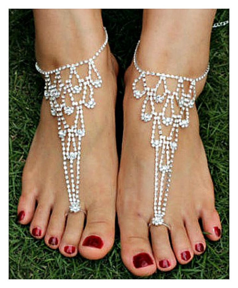 WILDFLOWER ANKLET TOE RING SET Rhinestone Dew Drop Anklet and Toe Ring Barefoot Sandal LAST SET!