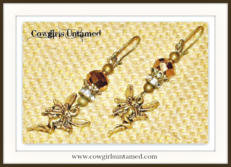 COUNTRY COWGIRL EARRINGS Antique Bronze Fairy Brown Crystal & Rhinestone Western Earrings