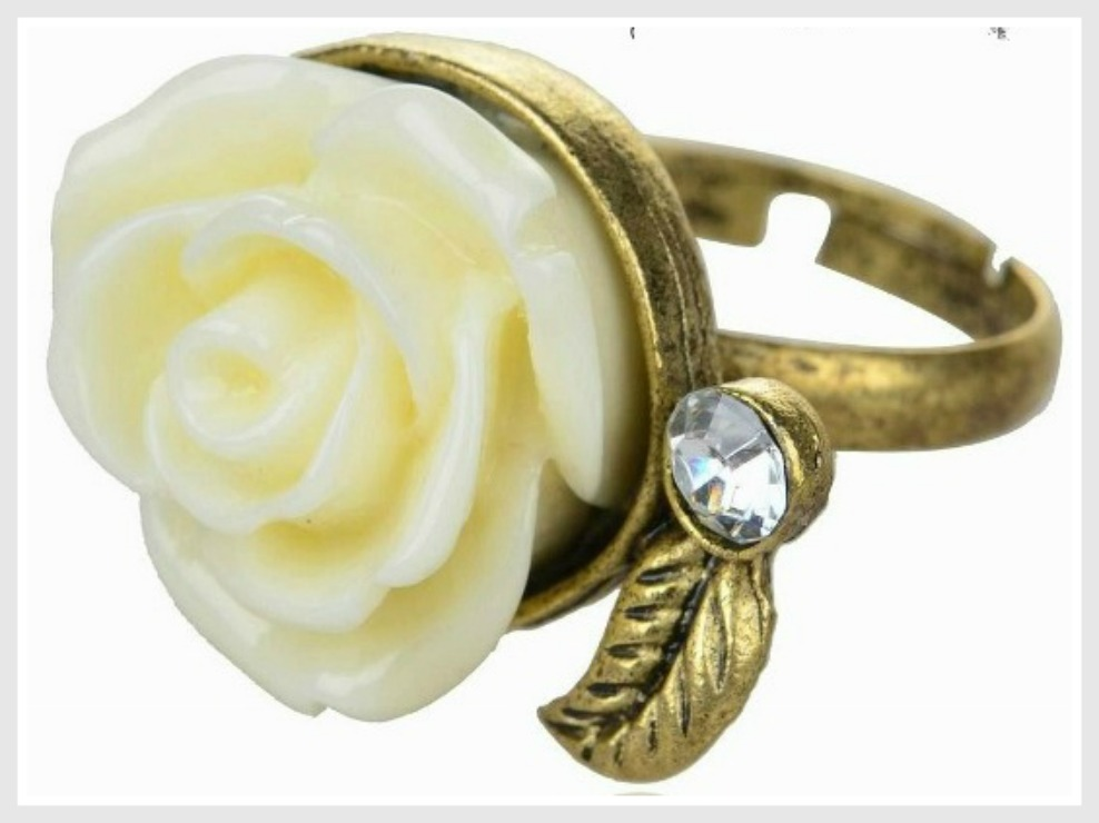 COWGIRL GYPSY RING Cream Flower & Crystal Boho Antique Bronze Ring LAST ONE
