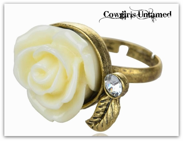 "COWGIRL GYPSY RING ""Flower Child"" Cream Flower & Crystal Boho Antique Bronze Ring"