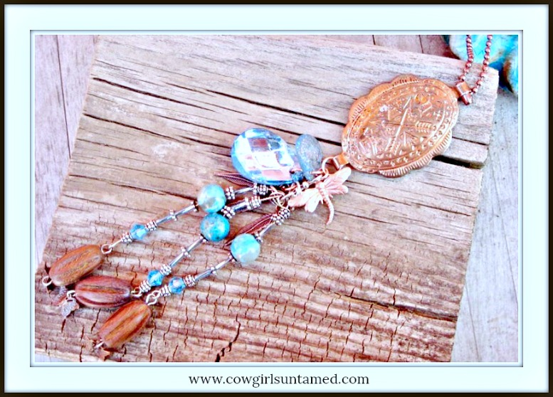 COWGIRL JUNK GYPSY NECKLACE Antique Etched Copper Concho Pendant with Gemstone & Crystals Charm Long Necklace