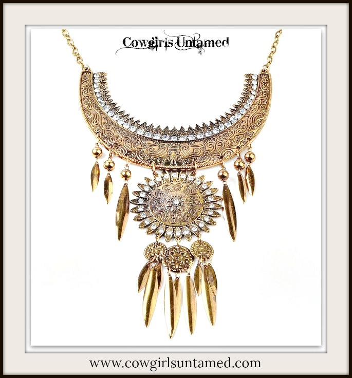 COWGIRL GYPSY NECKLACE Antique Gold & Rhinestone Floral Embossed Statement Necklace