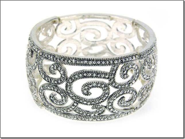 COWGIRL GYPSY CUFF Rhinestone Antique Silver Filigree Wide Bracelet
