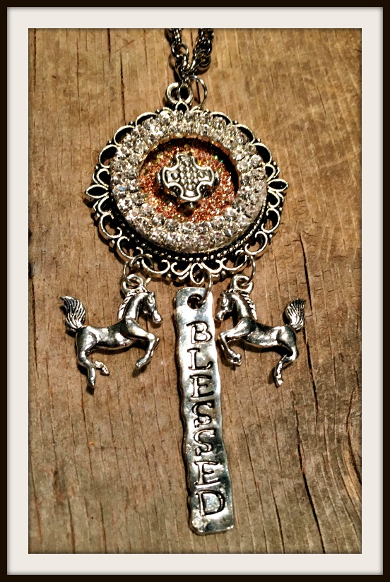 "CHRISTIAN COWGIRL NECKLACE Antique Silver ""BLESSED"" & Horse Charms Rhinestone Cross Cameo Pendant Necklace"