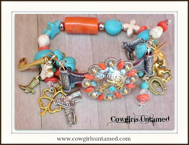 COWGIRL OUTLAW BRACELET Antique Silver N Gold Sixshooter Pistol Concho with Western Charms Western Stretch Bracelet