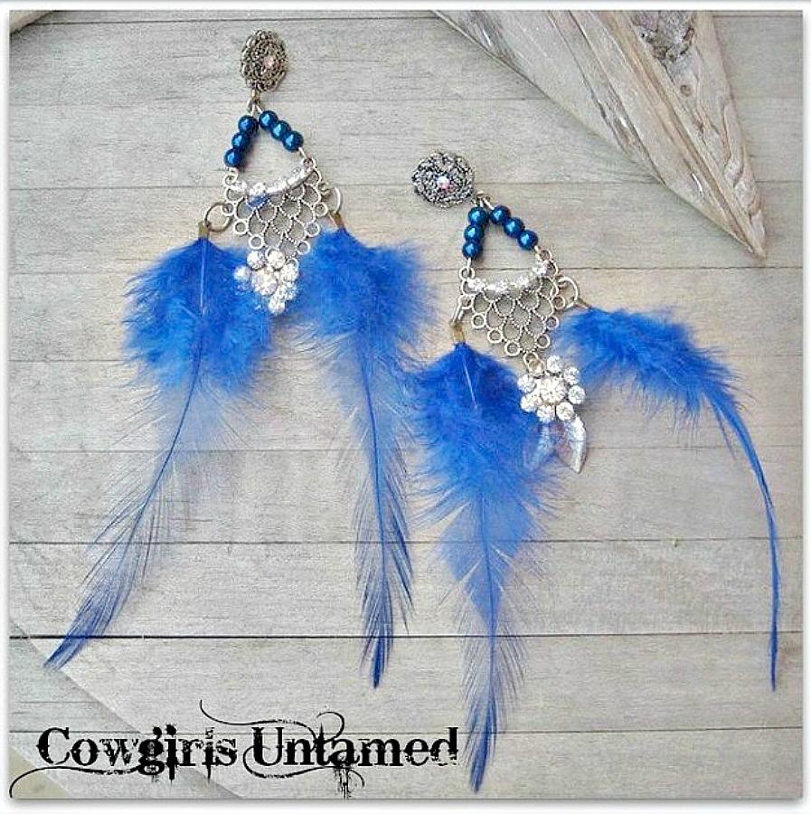 RETRO STYLE EARRINGS Custom Antique Silver Rhinestones on Iridescent Blue Beaded Blue Feather n Antique Rhinestone Charms Long Chandelier Western Earrings