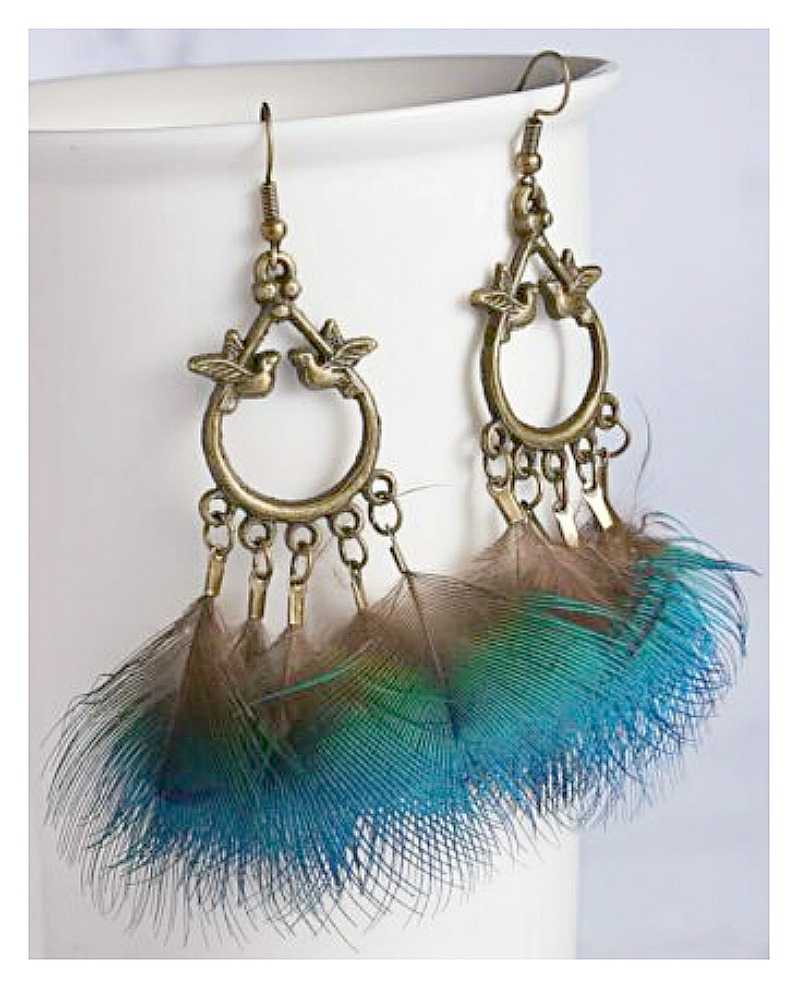 VINTAGE BOHEMIAN EARRINGS Teal Feather on Antique Bronze Feather Long Boho Earrings