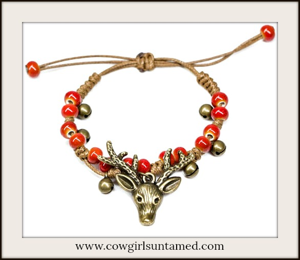 BE UNIQUE BRACELET Antique Bronze Deer & Handmade Ceramic Bead Bracelet